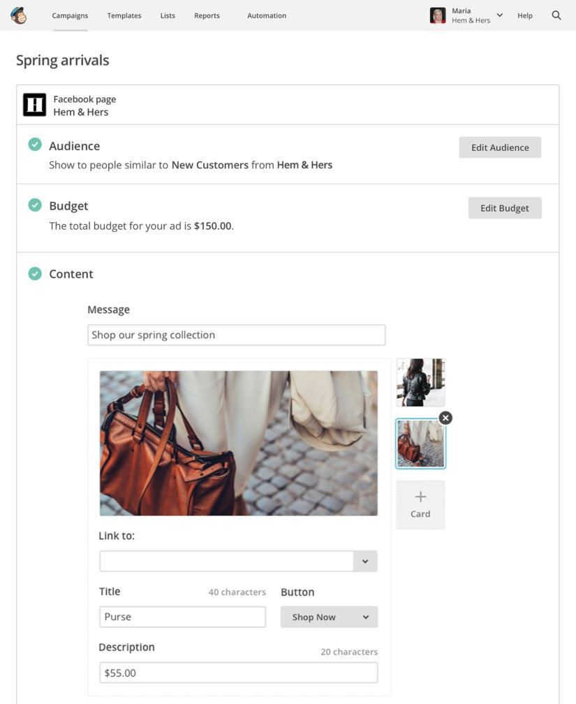 Create Facebook Ad Campaigns With MailChimp