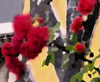 red roses - palette knife