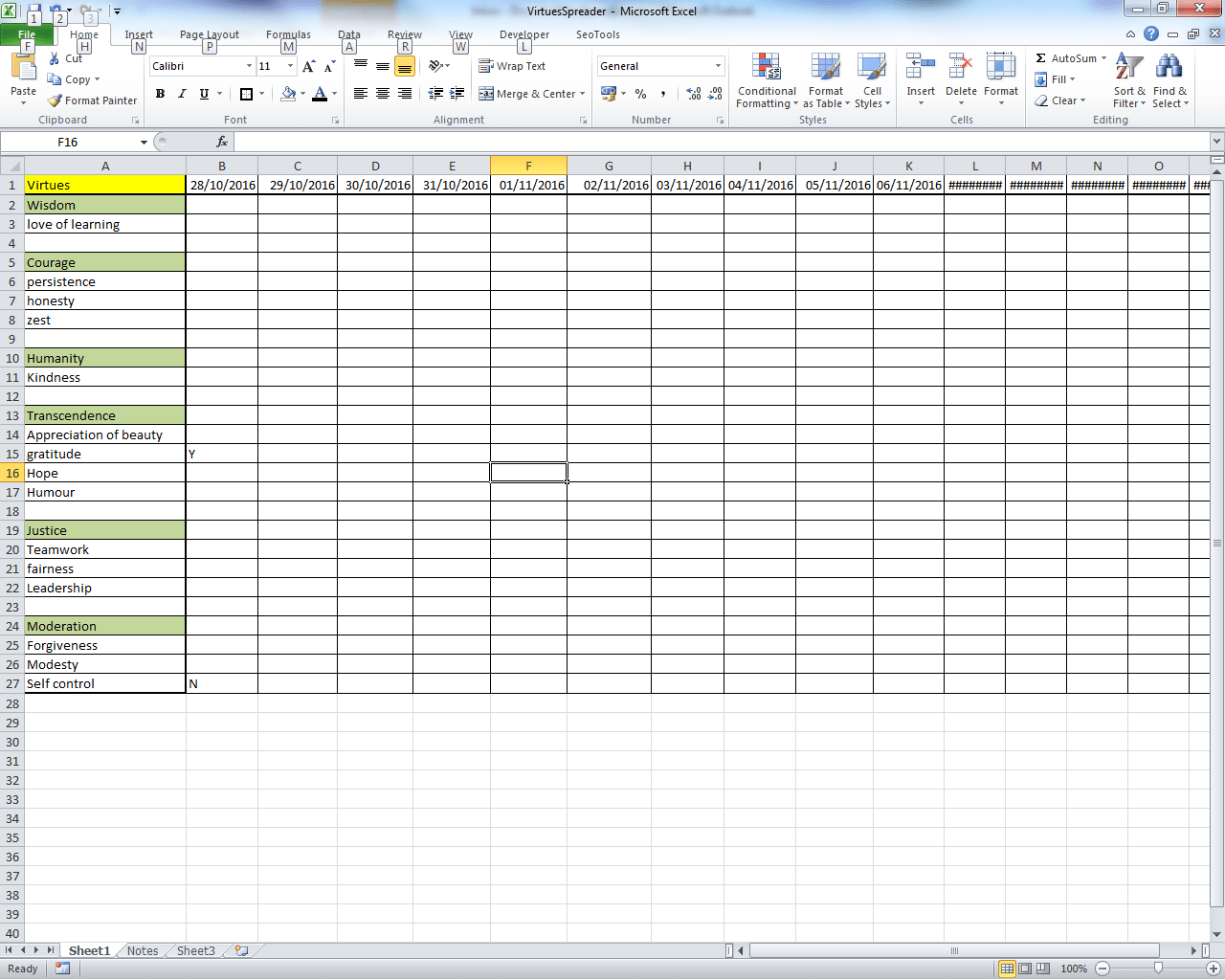 Virtues Spreadsheet Small Business Dad