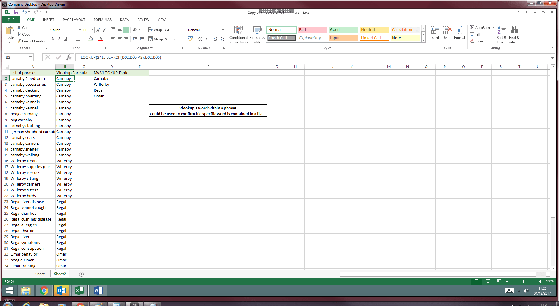 Vlookup Find A Word Within A Phrase Small Business Dad