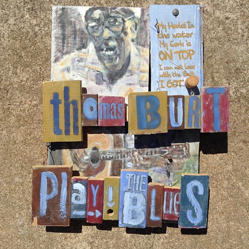 Thomas Burt was a North Carolina bluesman mixed media art by raleigh artist