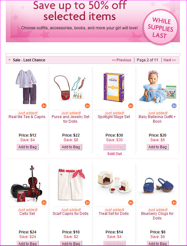 New American Girl Sale Items!