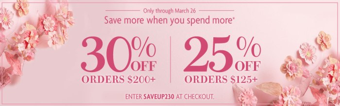 Save Up to 30% On Orders of $125+