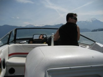 Speedboating on Lake Luzern with the cool crowd