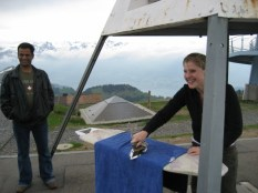 Extreme ironing on the top of the Rigi