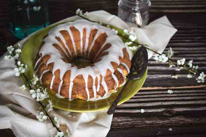 gluten free lemon bundt cake on a serving plate