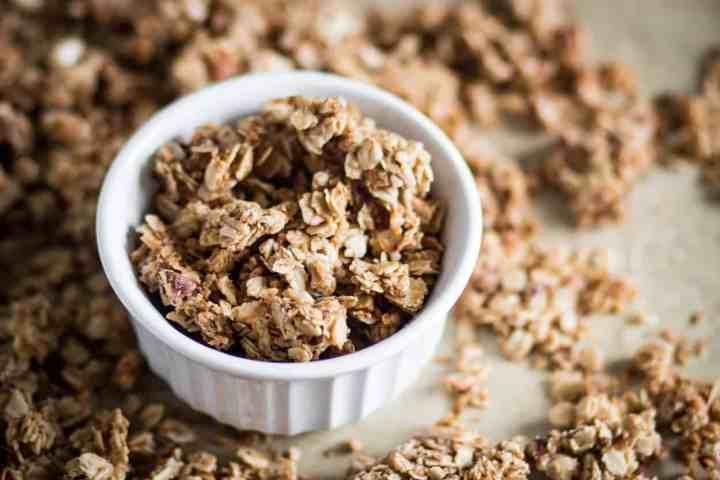 easy gluten free salty & sweet granola in a bowl