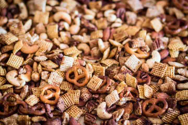 gluten free air fryer chex mix on a baking sheet