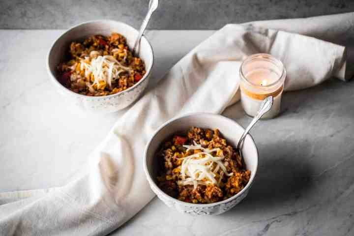 two bowls of gluten free instant pot mexican beef and rice