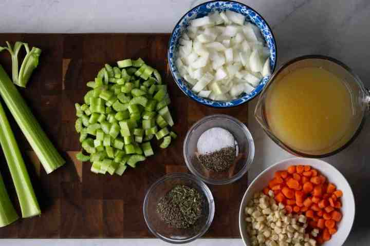 the ingredients for gluten free instant pot chicken and dumplings