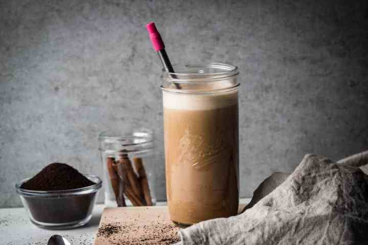 jar with zoku resusable pocket straw of paleo coconut milk iced latte