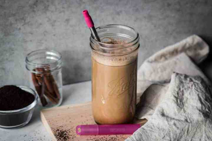 jar of paleo coconut milk iced latte