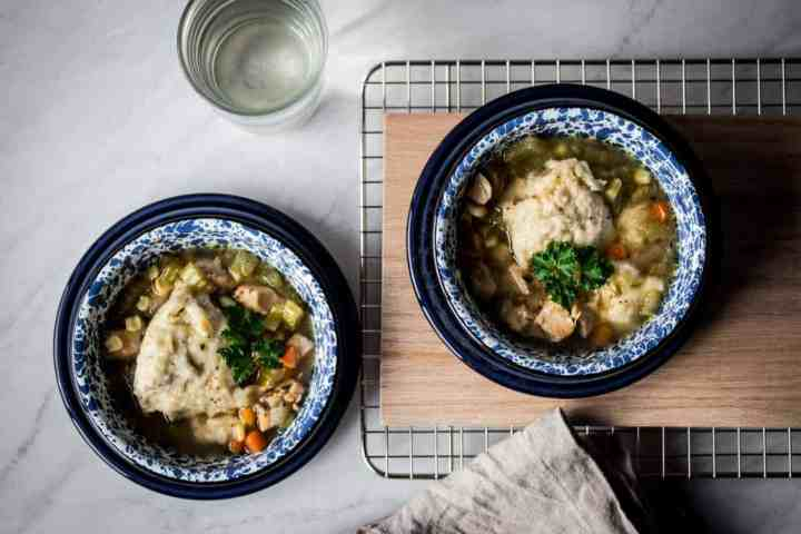 two bowls of easy to make gluten free instant pot chicken and dumplings