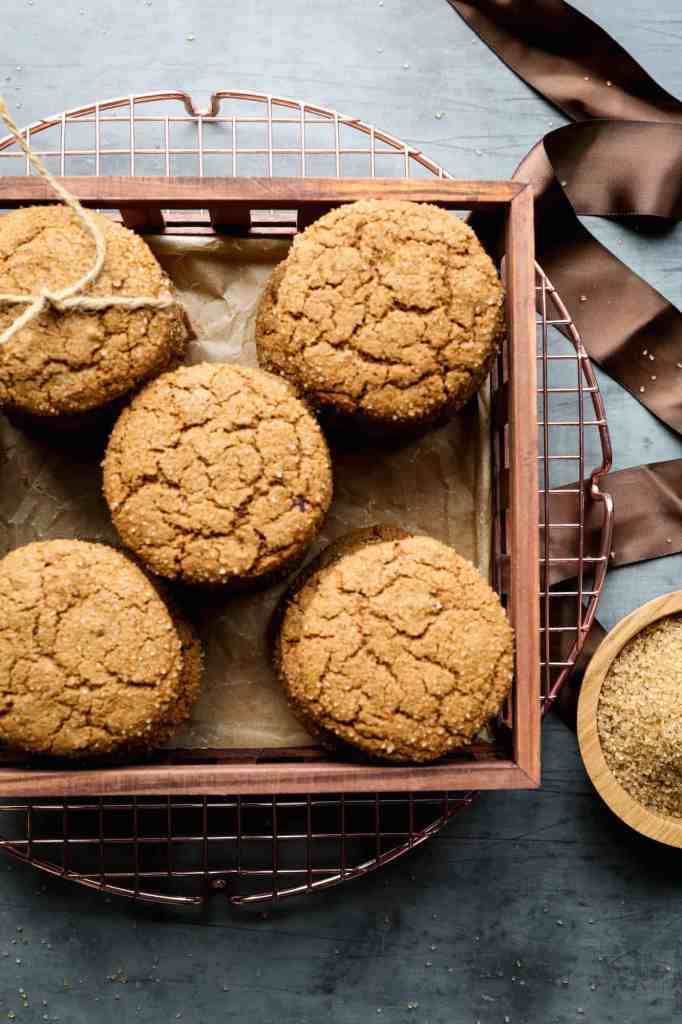 a wooden box full of gluten free ginger cookies