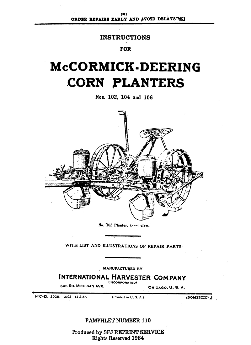 McCormick-Deering Corn Planters (M-110)