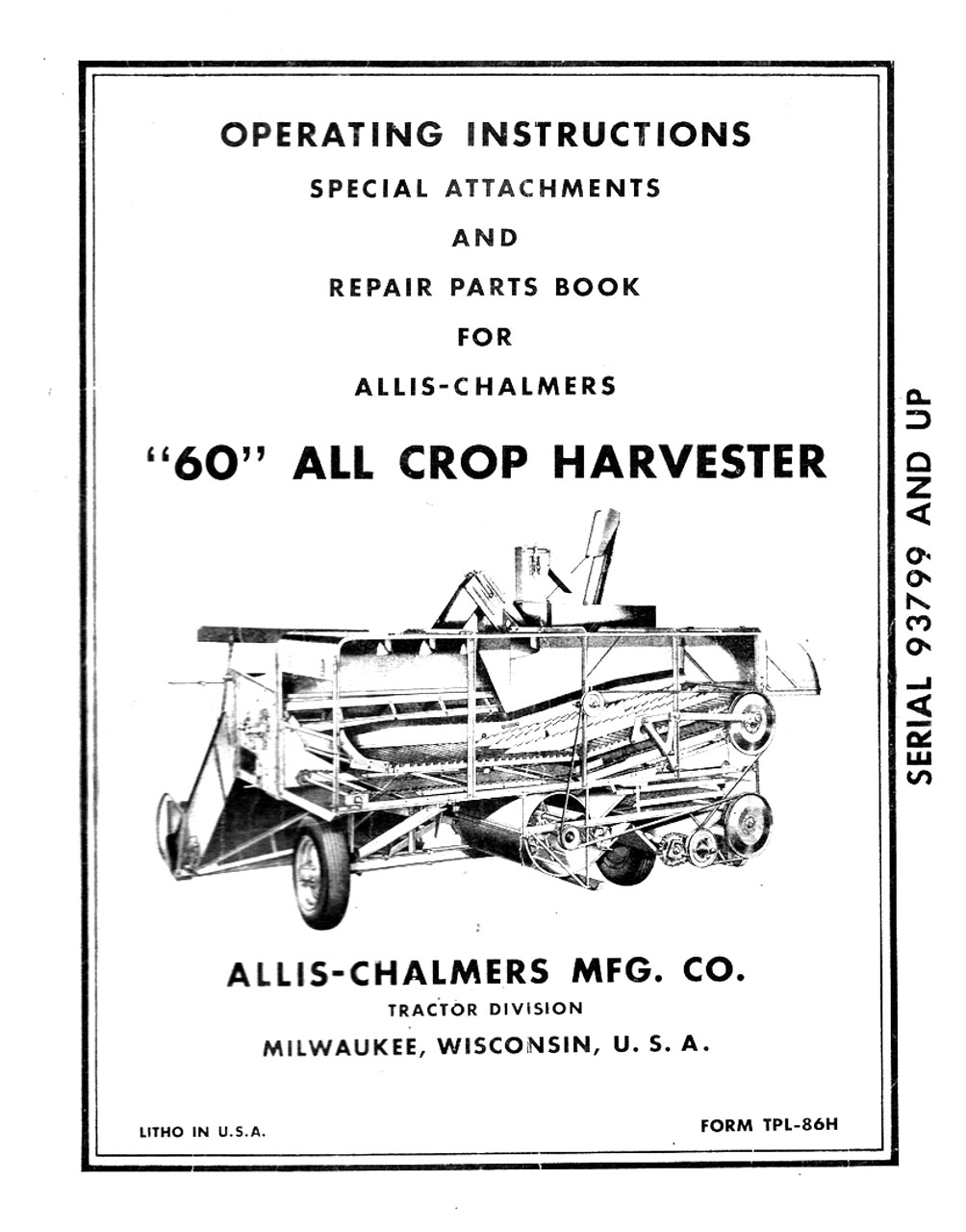 "Allis-Chalmers ""60"" All Crop Harvester (M-161)"