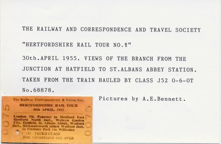 1st Herts Railtour 1 Description