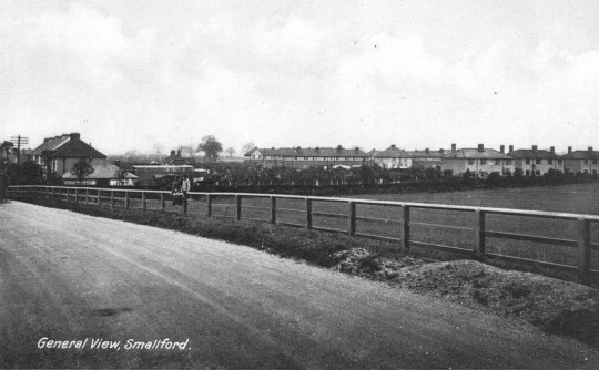 Smallford -4 Village from Stn Road 1928 Postcard