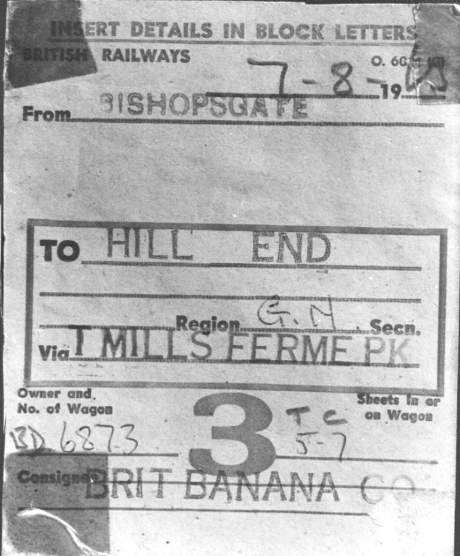 Wagon label for Hill end