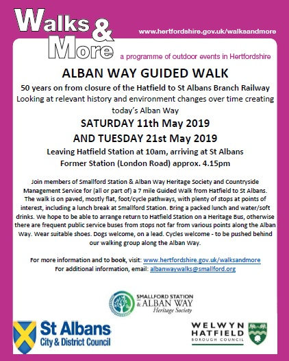 Free Alban Way Guided Walks: May 2019