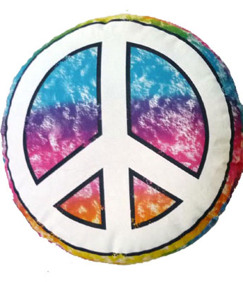 Peace sign pillow with marker for friends to sign