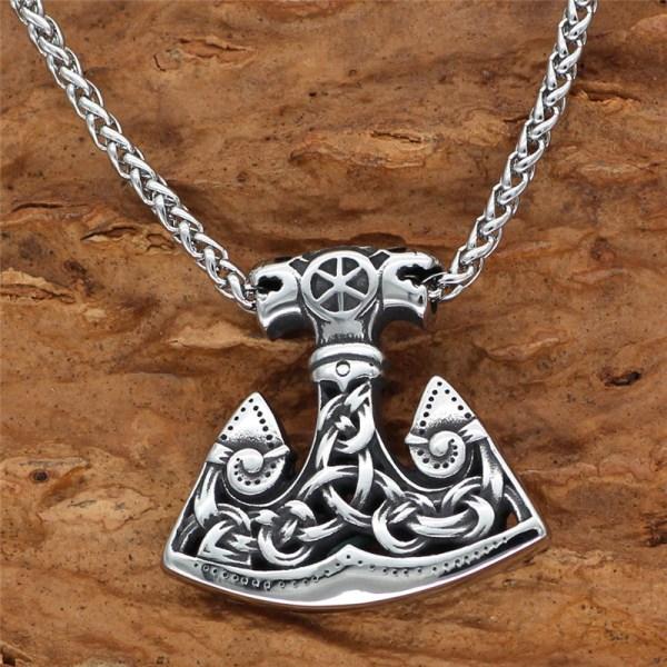 Men Viking Amulet Hammer Rune Axe Pendant Necklace Stainless Steel Odin Anchor
