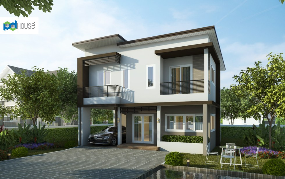Simple House Design 9x7.5 with 3 Bedrooms