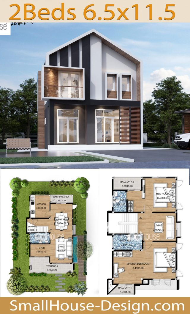 House Design Plans 6.5x11.5 Meters 2 Bedrooms 2