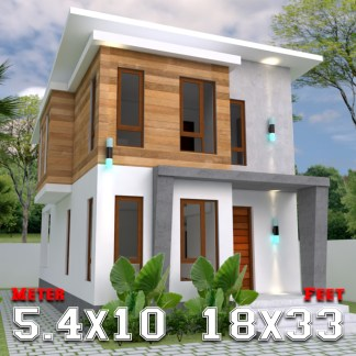 House Plans 5.4x9m with 3 Bedrooms a1