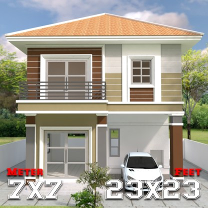 Small House Design 7x7m with 3 Beds a1