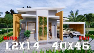 Modern House Design 12x14 Meter 40x46 Feet 2 Beds