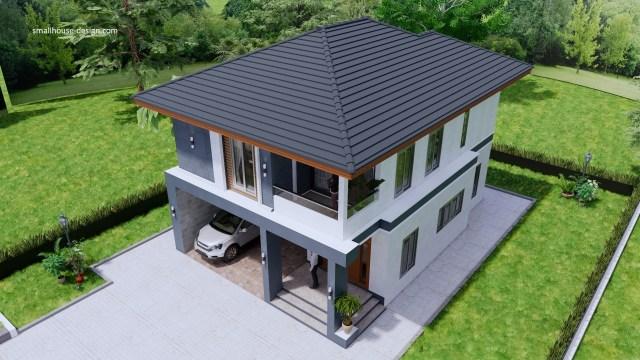 Small House Design 8x10 Meter 27x40 Feet 4 Beds 7