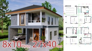 Small House Design 8x10 Meter 27x40 Feet 4 Beds