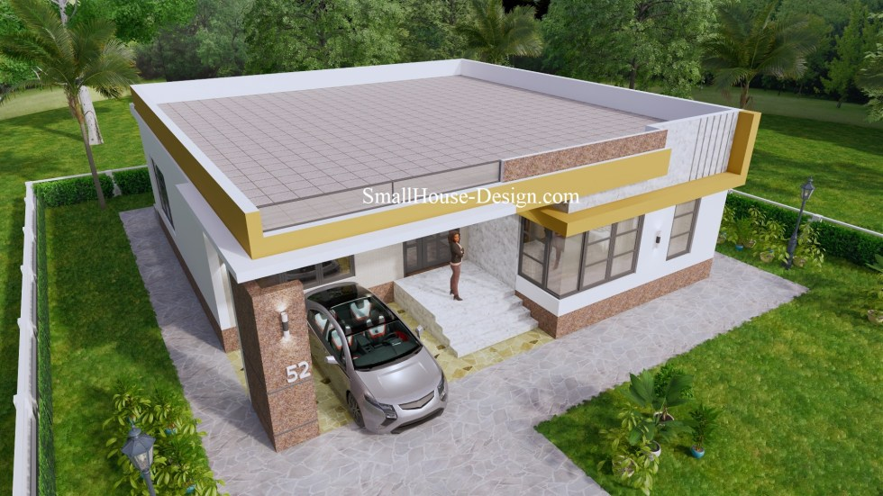 Small House Design with Terrace 12x12 Meter 5