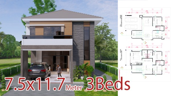 Small House Plan 7.5x11.7 Meter 25x40 Feet 4 Beds
