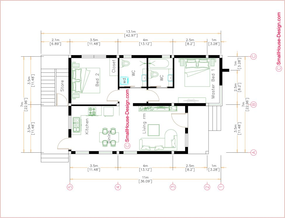Small House Plans 7x11 Meters Full Plan Terrace Roof