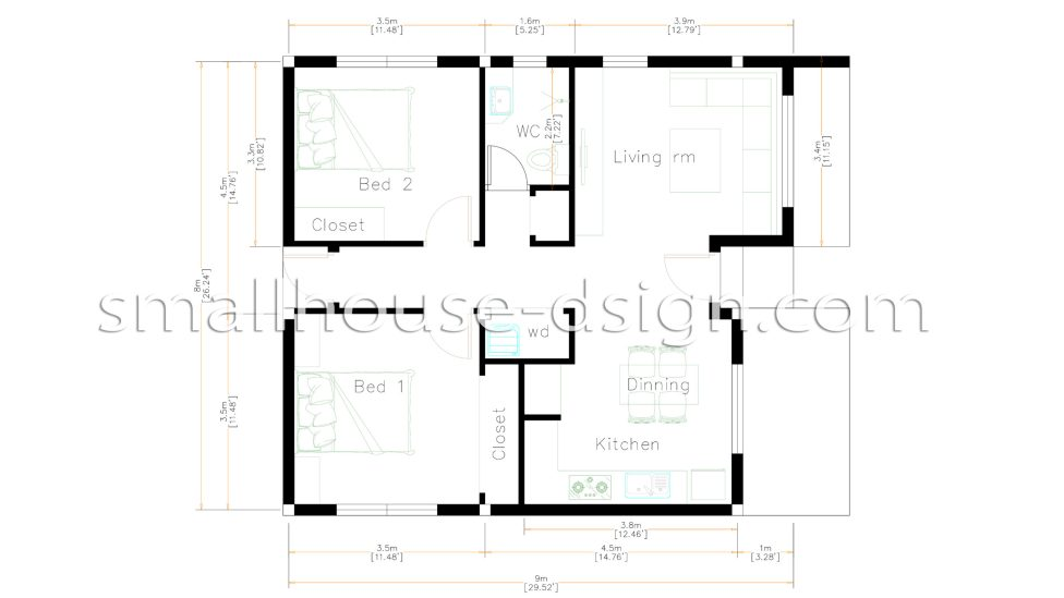 Small House Design 8x9 with 2 Bedrooms Floor plan