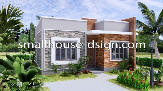 Small House Design 8x9 with 2 Bedrooms Terrace Roof 3D Exterior 2