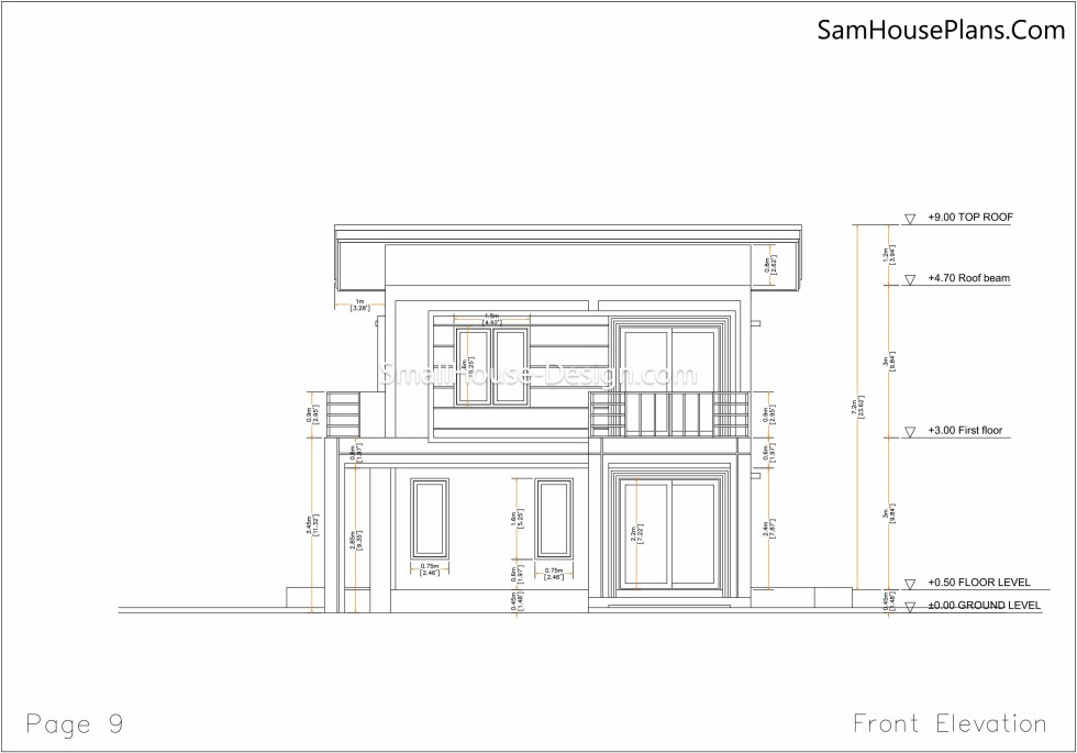 09 Front Back elevation plan Small House Plan 6x8.5 PDF Full Plans