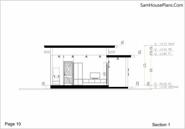 Small House Plan 7x7 with 1 Bedroom Flat Roof section 1