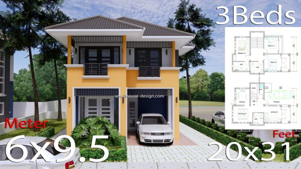 20x31 Small House Plan 3 Bedrooms Hip Roof 6x9.5 M