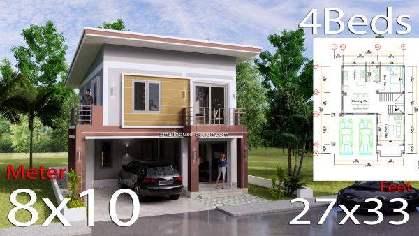 8x10 Small House Design 4 Bedrooms Shed Roof 3d