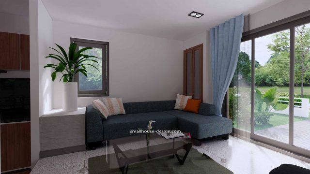 House Plans 6x7.5 Meters 2 Bedrooms Interior Living room 2