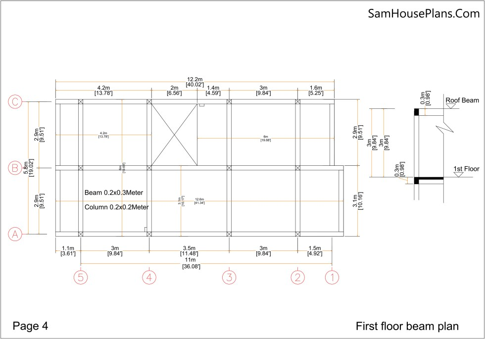 Small Home Plan 7x15 with 3 Bedrooms Beam First Floor Plan