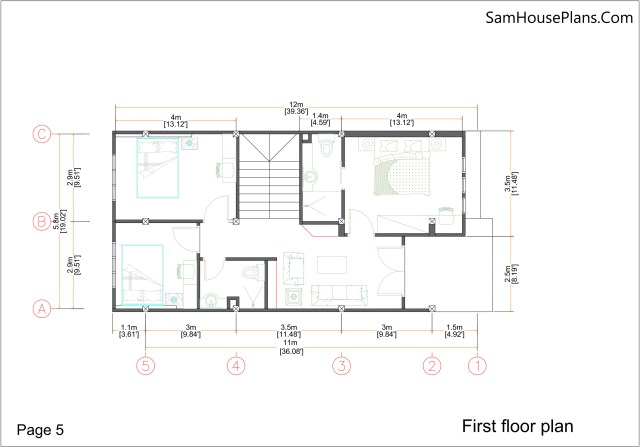 Small Home Plan 7x15 with 3 Bedrooms First Floor Plan
