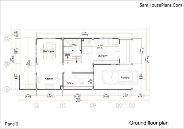 Small Home Plan 7x15 with 3 Bedrooms Ground Floor Plan