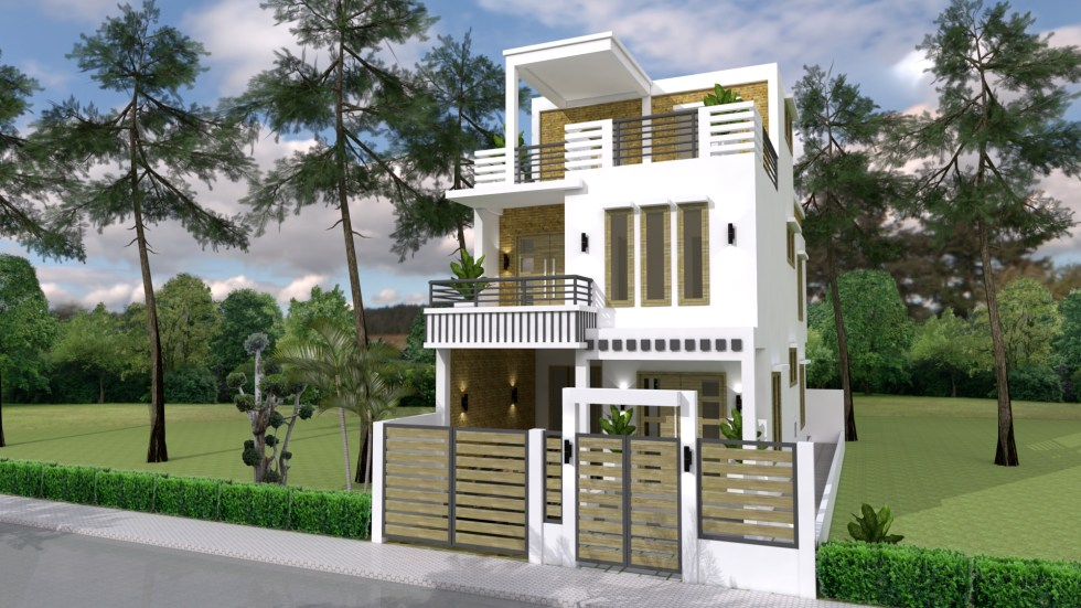 Small Home Plan 7x15 with 3 Bedrooms right