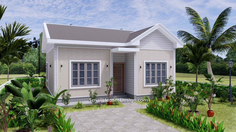 Small House Design 27x30 with 2 Bedrooms Gable Roof 3d 1