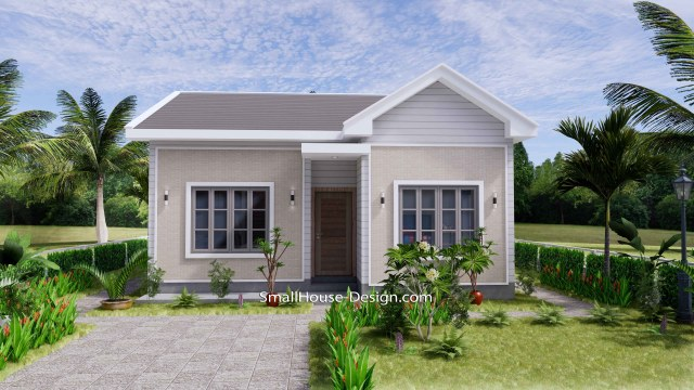 Small House Design 27x30 with 2 Bedrooms Gable Roof 3d front