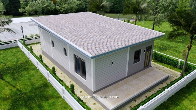 Small House Design 7x11 Meters 2 Bedrooms Shed Roof 23x36 Feet 7